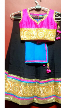 Black Lehenga With Contrast Pink Blouse